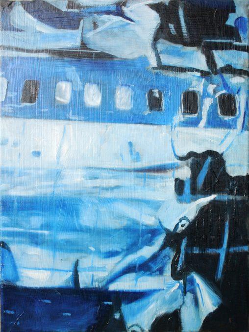 verkocht aircraft debris 2017 : oil on canvas 30x40
